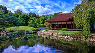 The Shofuso Japanese House, a traditional japanese house surrounded by trees next to a large body of water