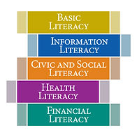 "The PA Forward 5 Literacy Logos, featuring five stacked books labeled ""Basic Literacy"" ""Information Literacy"" ""Civic and Social Literacy"" ""Health Literacy"" and ""Finanical Litearcy"""