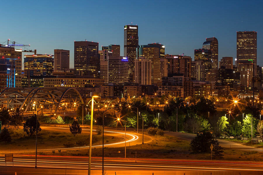 Denver colorado skyline at night. Sperr blvd