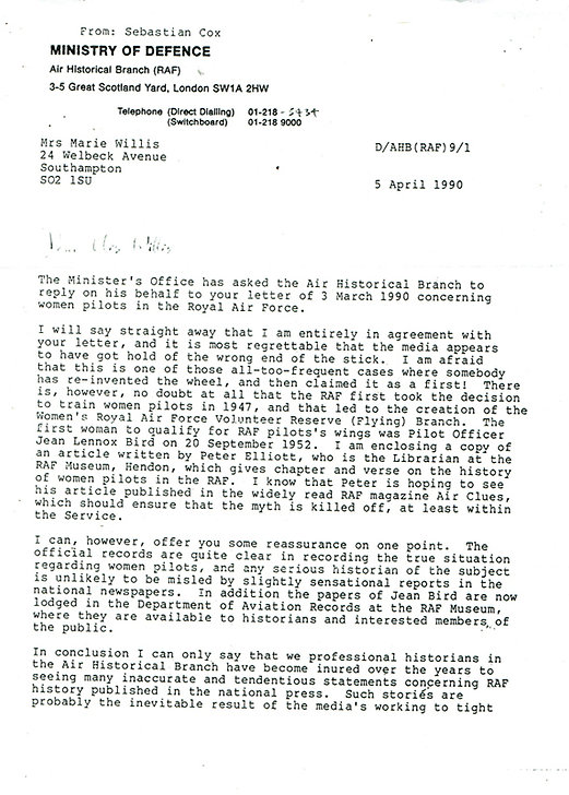 RAF wings Ministry of Def letter - Copy