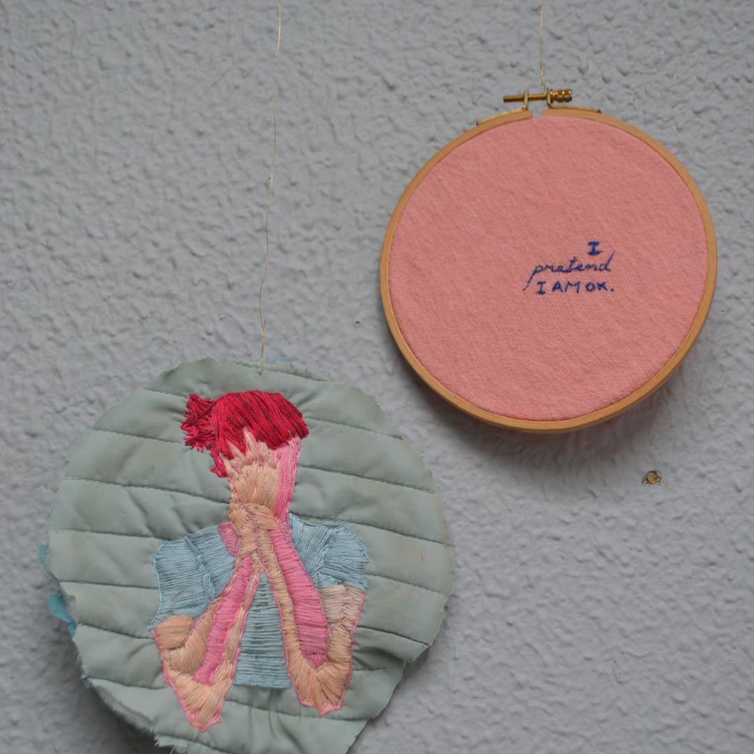 DRAWING I pretend I am OK (embroidery),