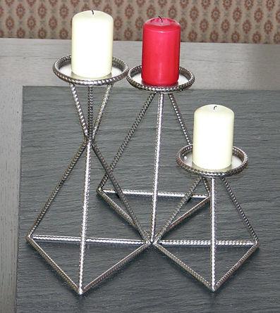 Kerzen-Ständer 3er Set aus Metall, tscharly design, 8604 Volketswil, Handwerks-Kunst aus Metall
