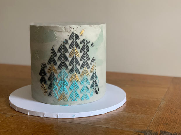 """4 layer salted caramel """"concrete"""" butterceam with stencil design and touches of gold"""