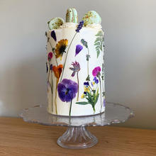6 layer orange and pistachio cake with buttercream finish and pressed edible flowers