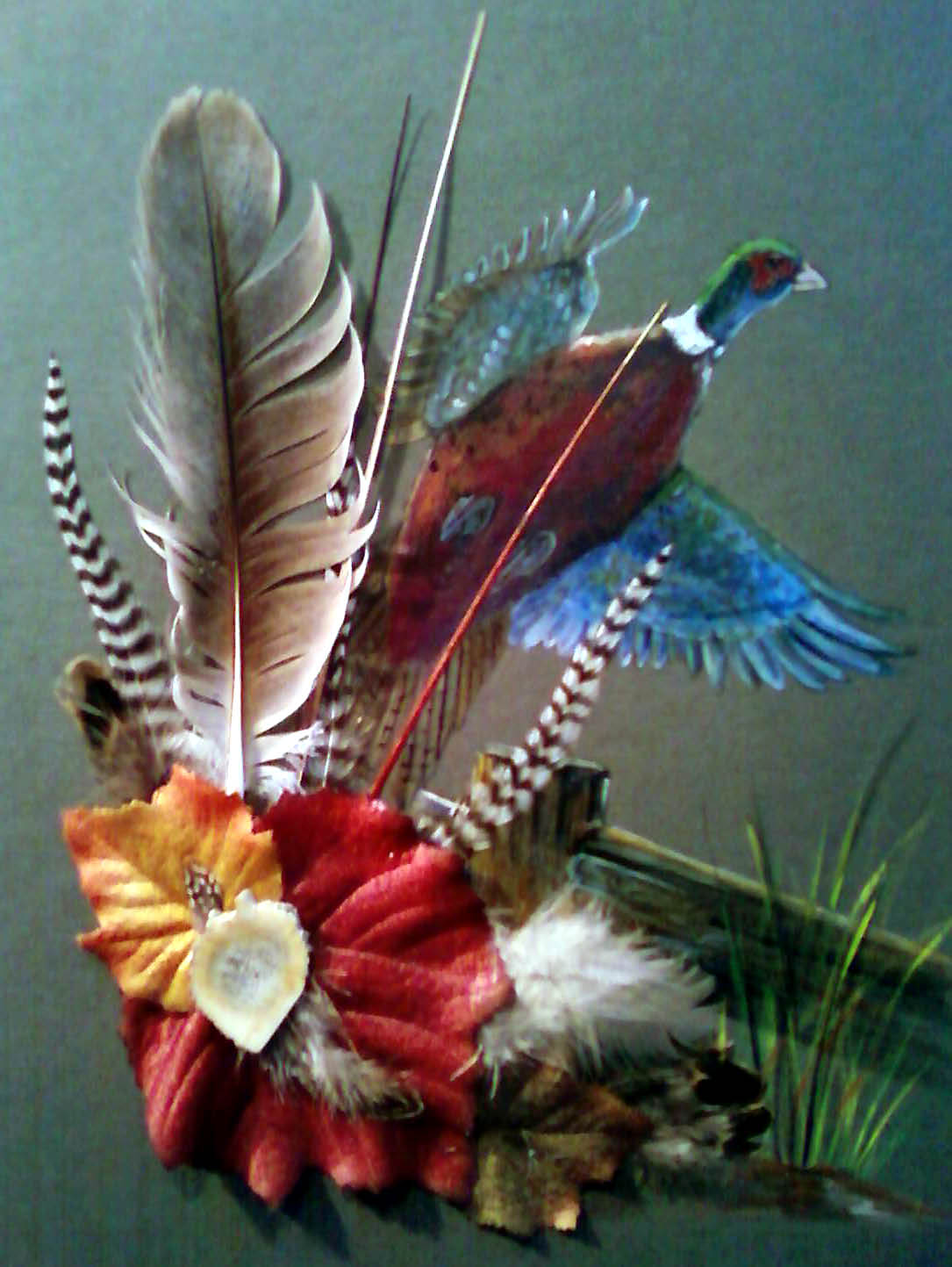 Acrylic/feathers - Pheasant Flying