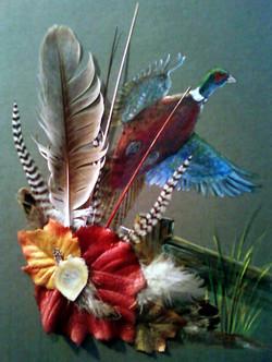 Acrylic/feathers - Pheasant Flying