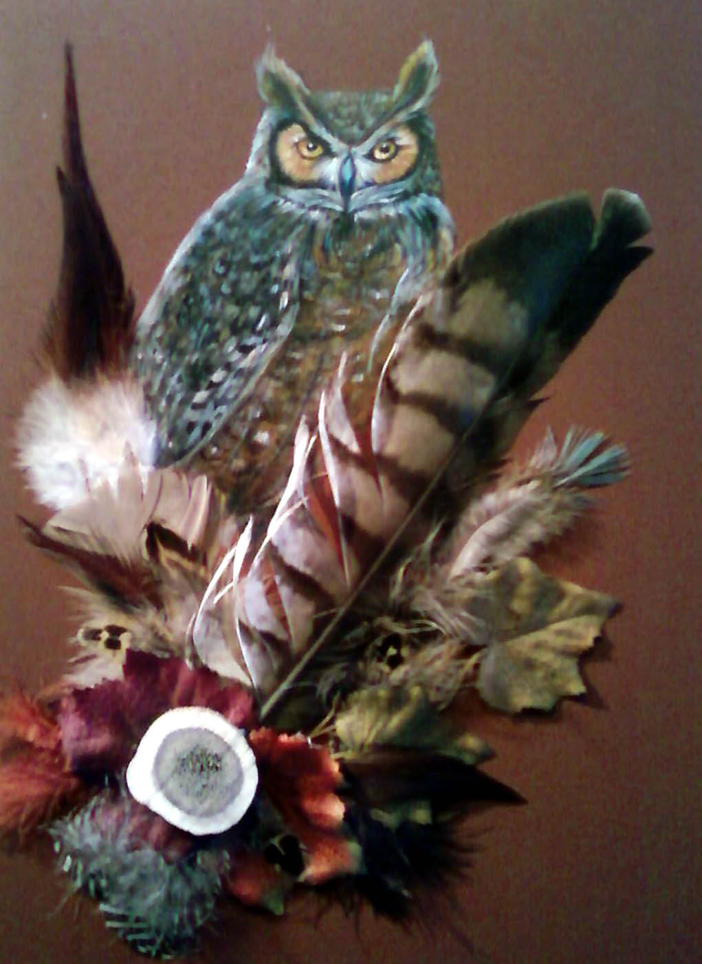 Acrylic- feathers Owl