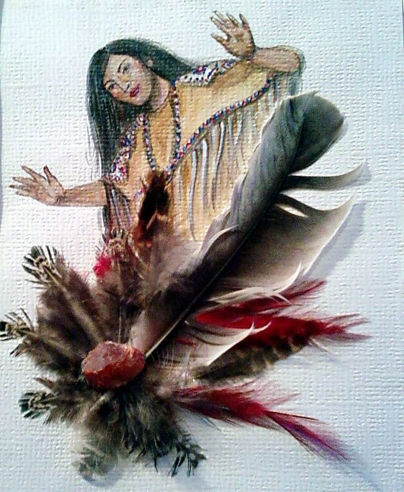 Acrylic/feathers Maiden