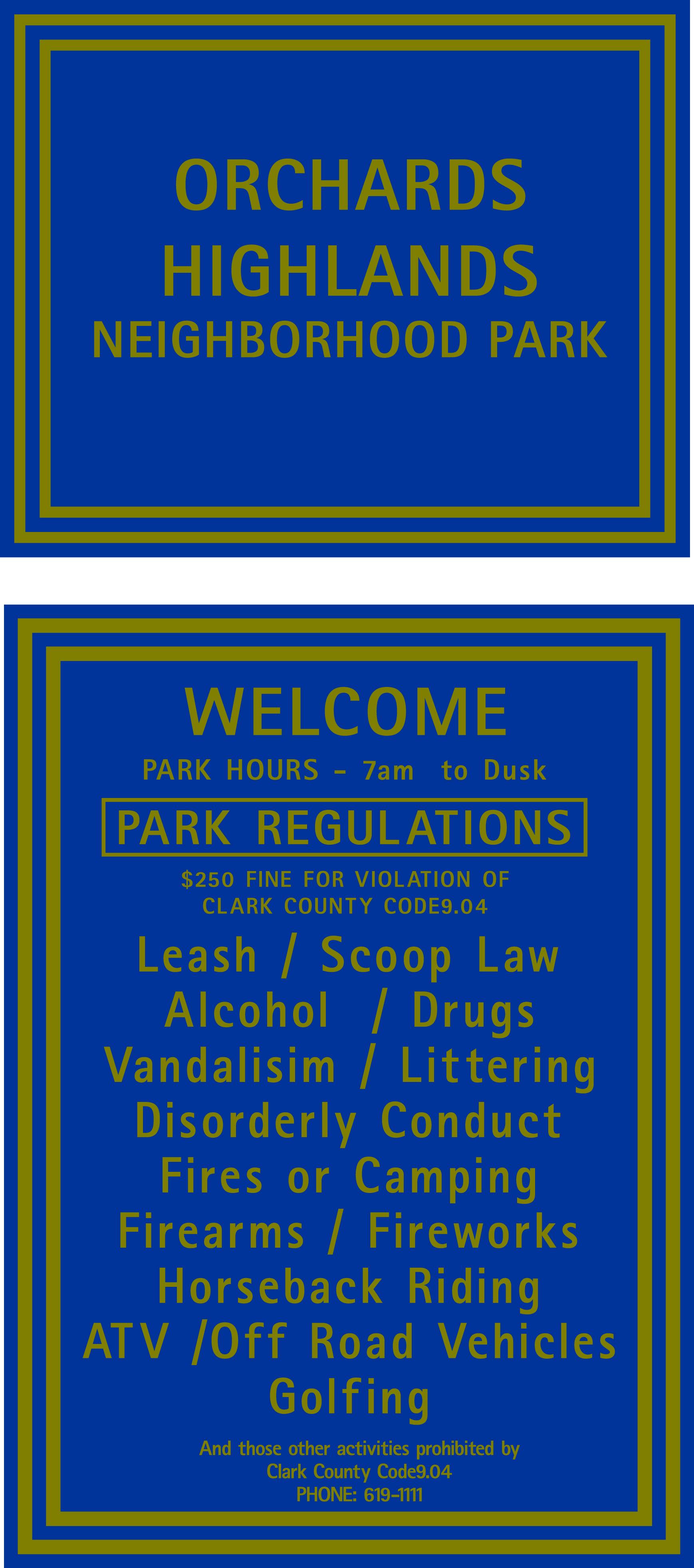 VAncouver/Clark Parks Dept Signs