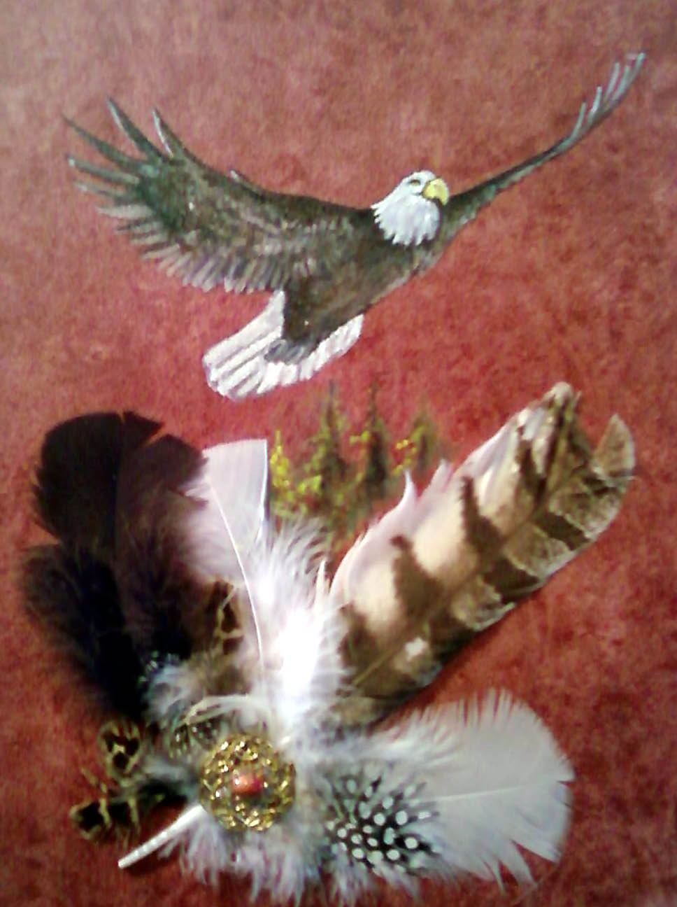 Acrylic/Feathers - Eagle Flying