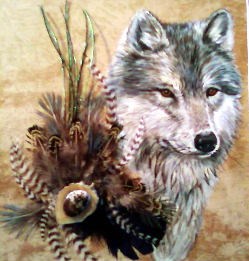 Acrylic/Feathers - Wolf