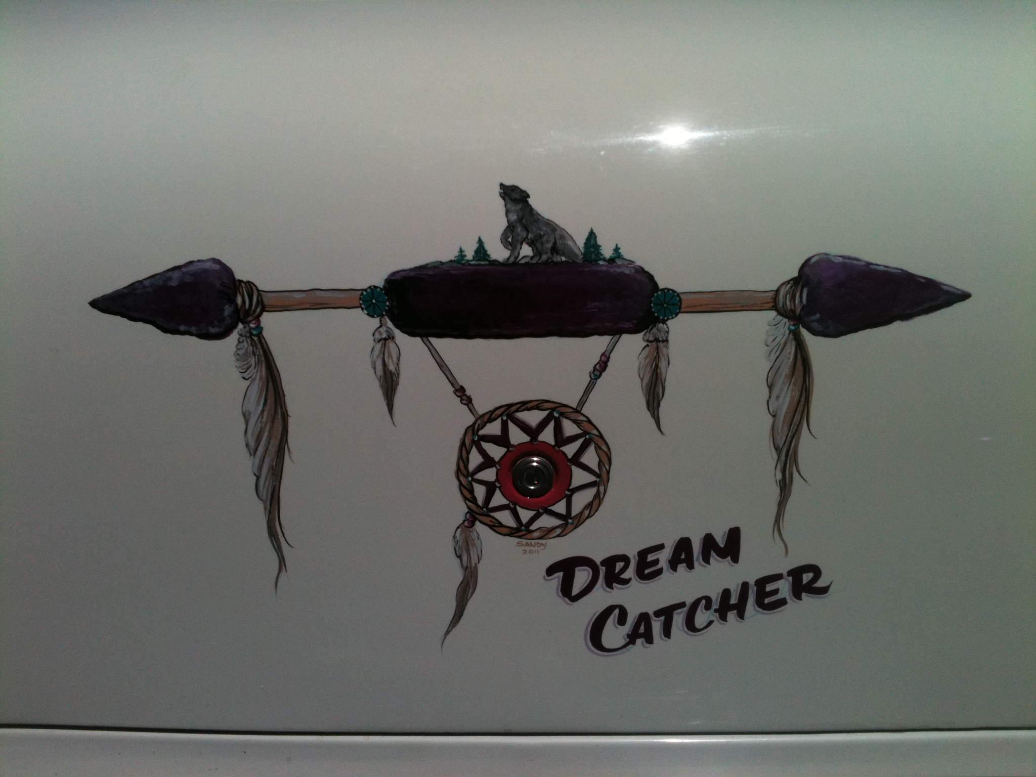 Handpainted on truck of car