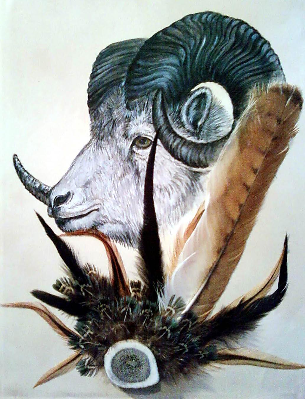 Acrylic/Feathers - Ram