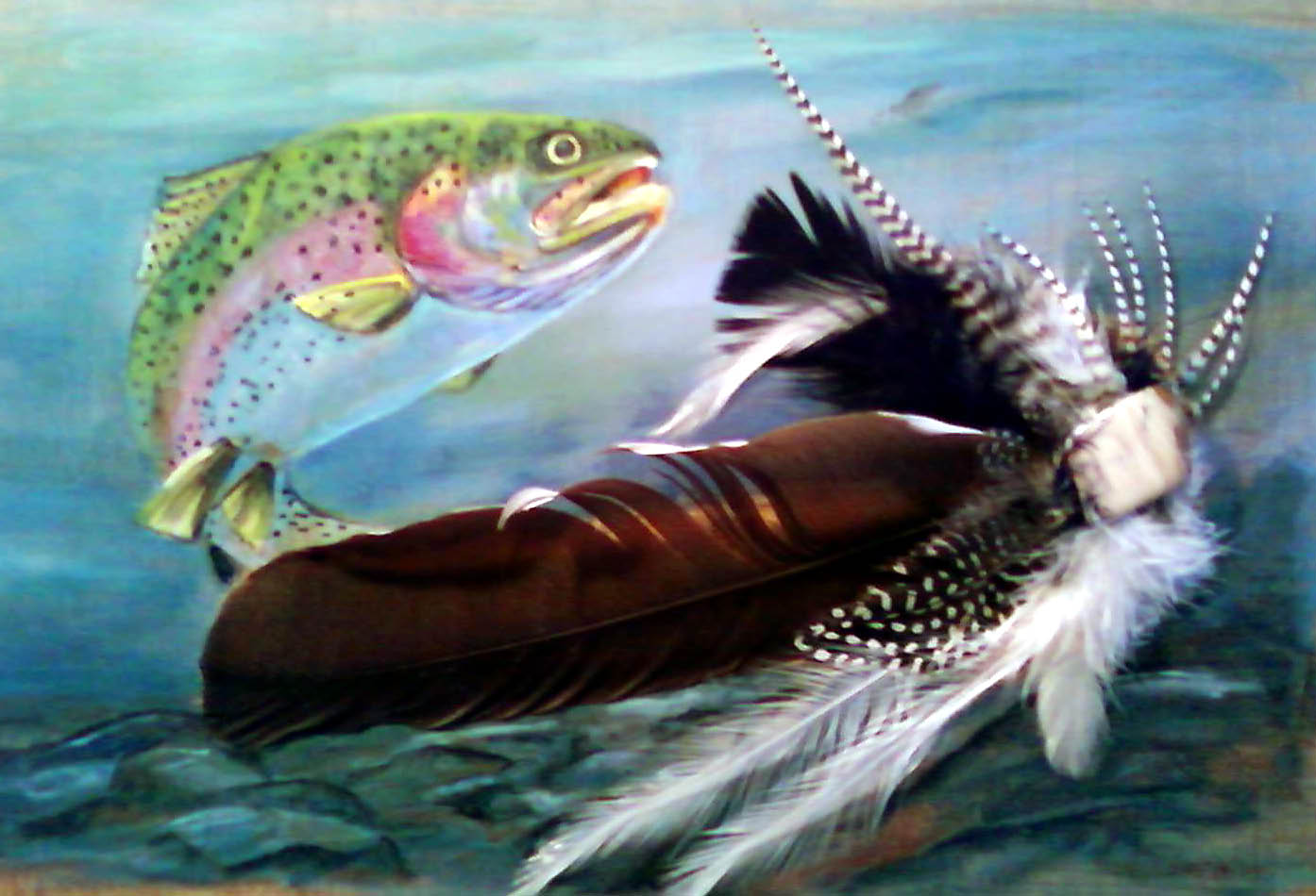Acrylic/Feathers - Trout