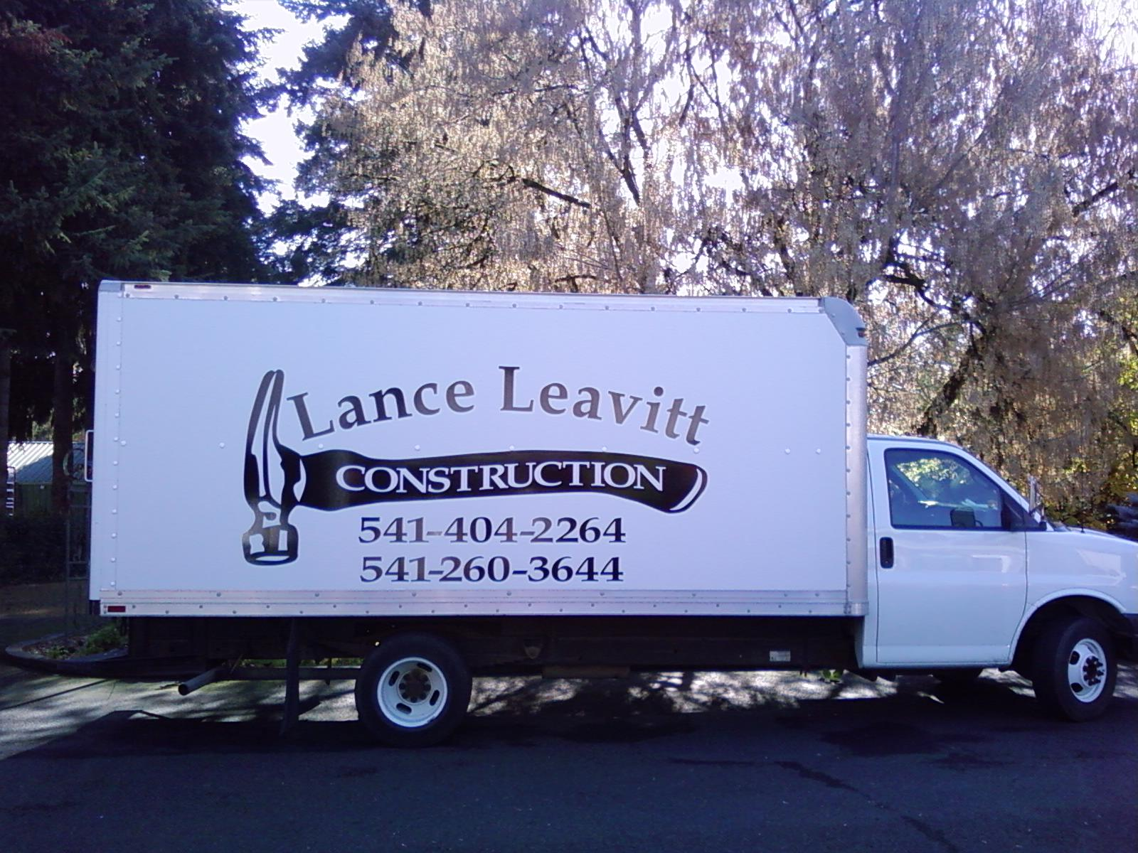 Vinyl graphic lettering on box truck