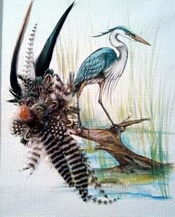 Acrylic/feathers - Crane