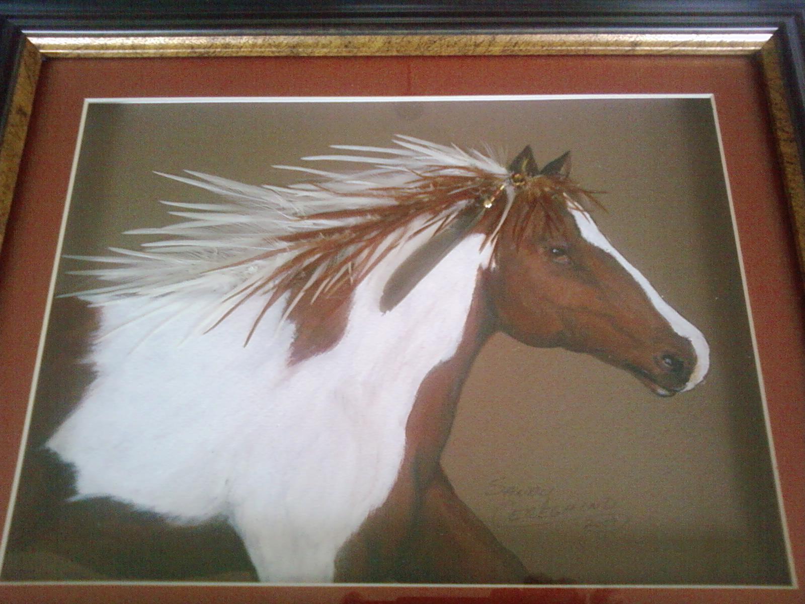 Acrylic - feathers Horse