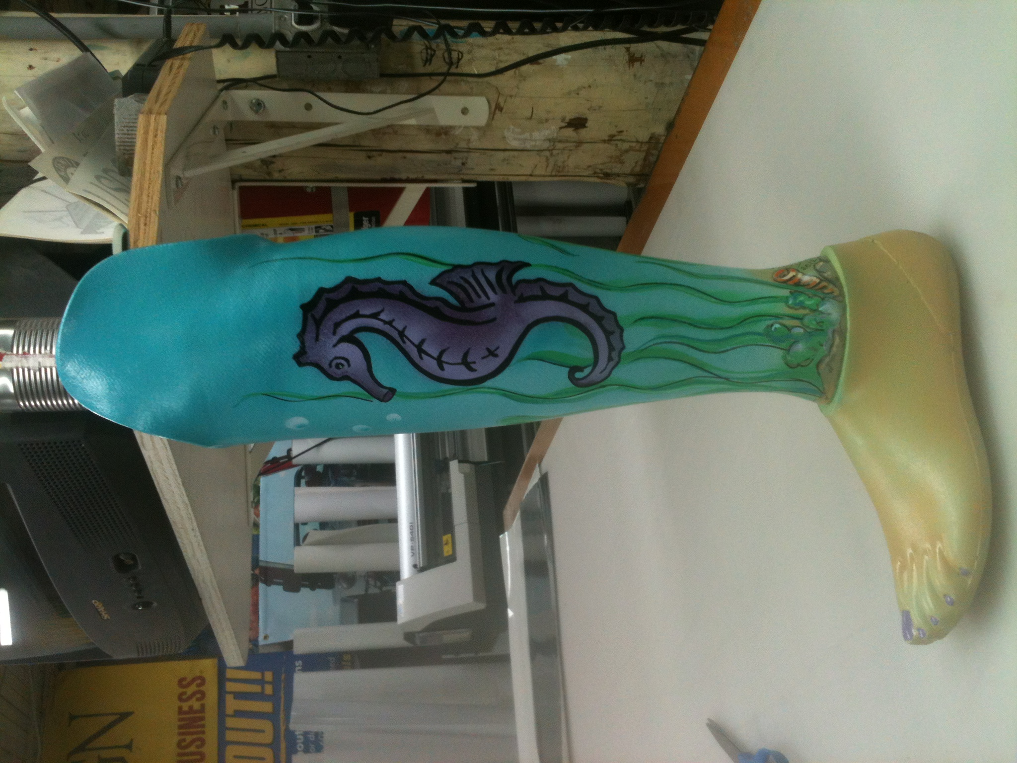 Custom airbrushed leg