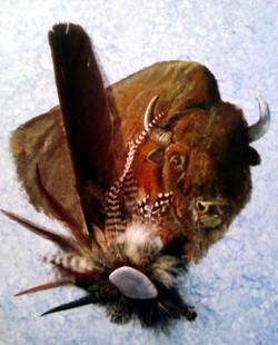Acrylic/Feathers - Buffalo