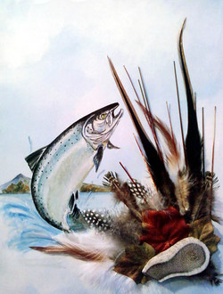 Acrlylic/Feathers - Salmon