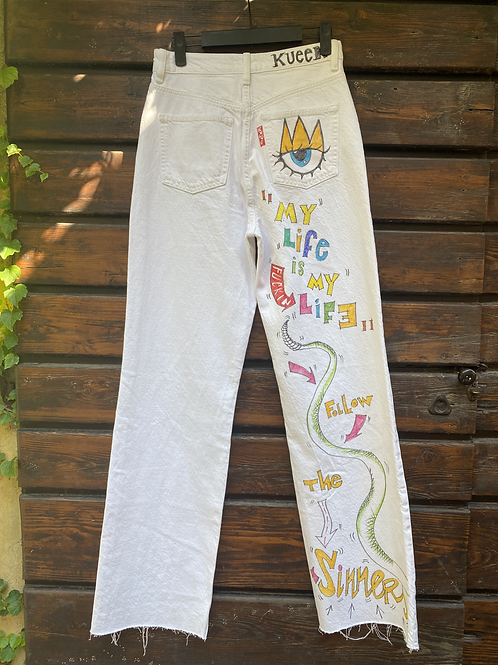 """WHITE JEANS """"MNY LIFE IS MY LIFE"""""""