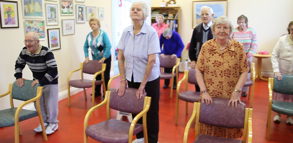 Older Adults doing Fit For Life standing & balance exercise class.
