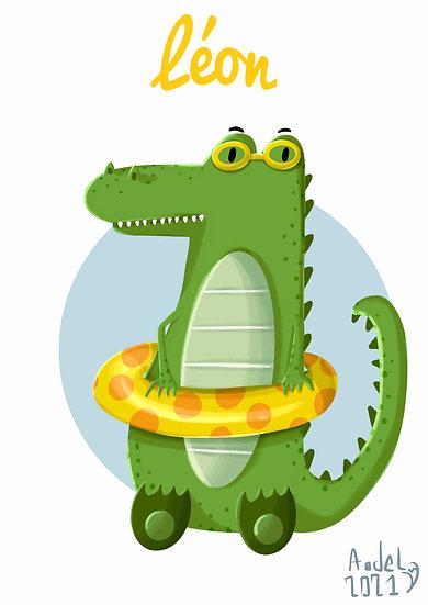Affiche crocodile personnalisée