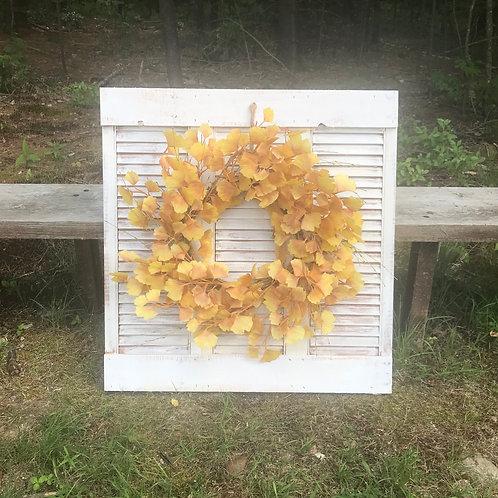 SOLD: Mantel Shutter/Wreath Decor