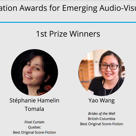 Yao Wang wins 1st Prize in SOCAN Foundation Award