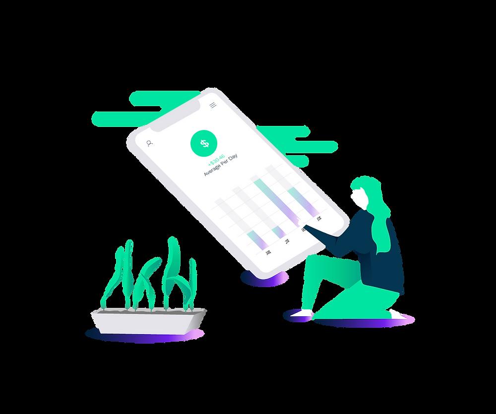 ilustração de mulher usando um celular para trabalhar