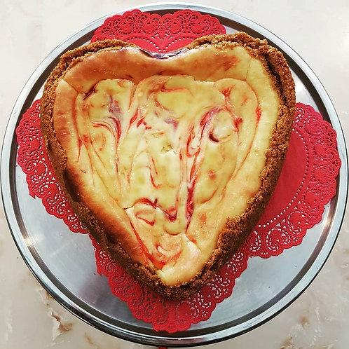 Heart Shaped Strawberry Swirl Cheesecake