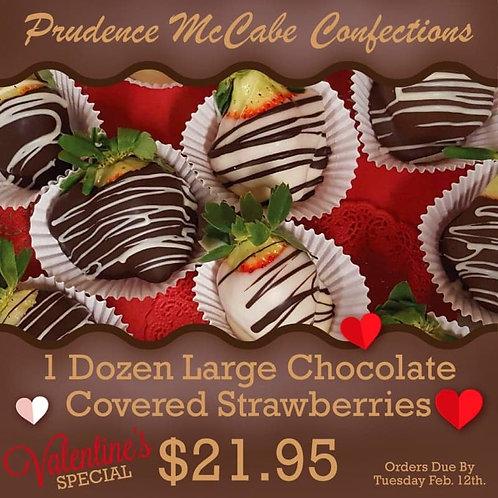 One Dozen Large Chocolate Covered Strawberries