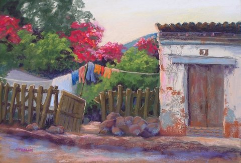 Washday At Number 9 12x18 pastel