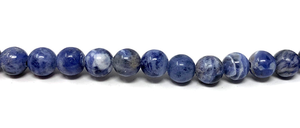 "6 mm Sodalite Round Beads 15.5""-16"" (Price per Unit of 5 Strands)"