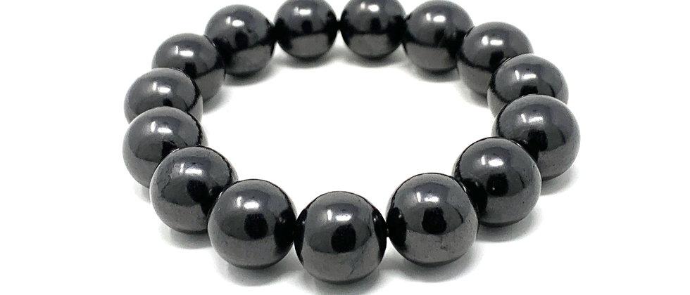 12 mm Round Shungite Elastic Bracelet  (Price is Per 10 Pieces Bag)
