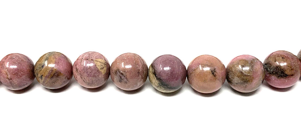 "10 mm Rhodonite Round Beads 15.5""-16"" (Price per Unit of 5 Strands)"