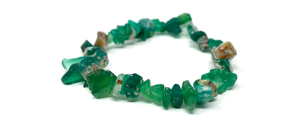Green Agate Single Chips Elastic Bracelet  (Price is Per 10 Pieces Bag)