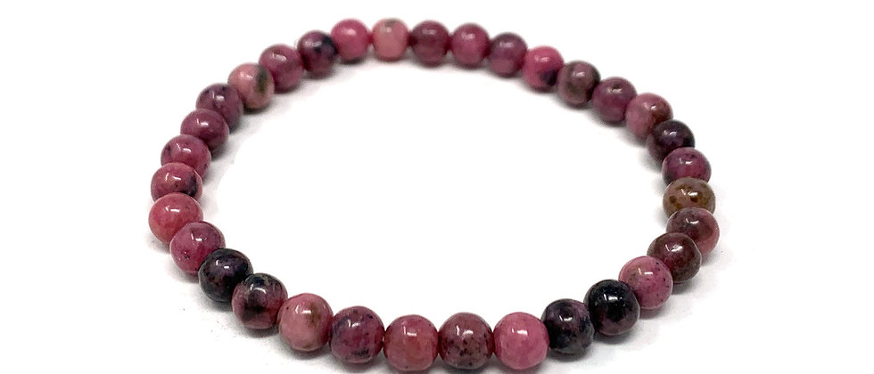 6 MM Rhodonite Round Beads Bracelets (Price Per 10 Pieces Bag)