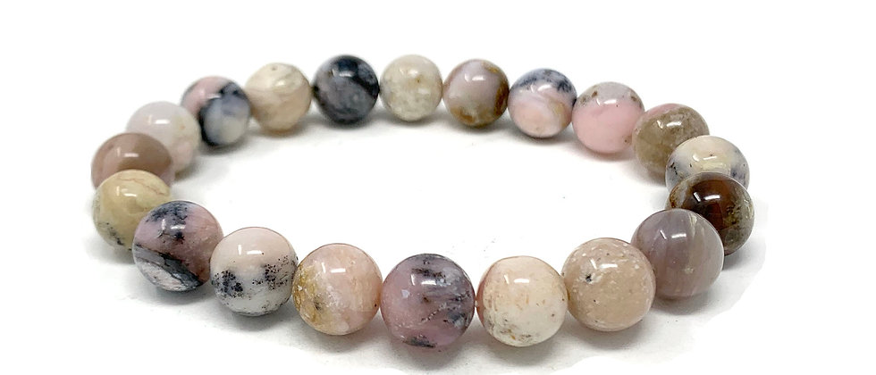 10 MM Pink Opal Round Beads Bracelets (Price Per 10 Pieces Bag)