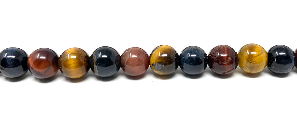"6  mm Mix Tiger Eye Round Beads 15.5""-16"" (Price per Unit of 5 Strands)"