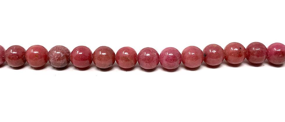 "6 mm Rhodonite Beads 15.5""-16"" (Price per Unit of 5 Strands)"