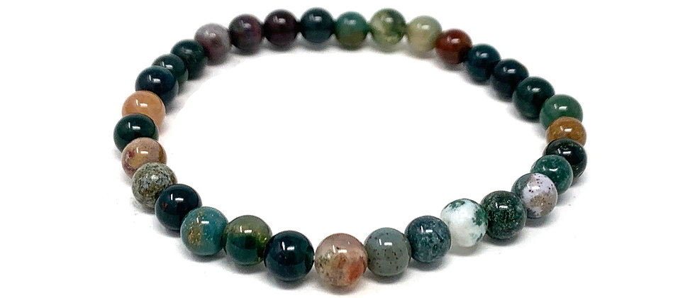 6 MM Indian Agate Round Beads Bracelets (Price Per 10 Pieces Bag)