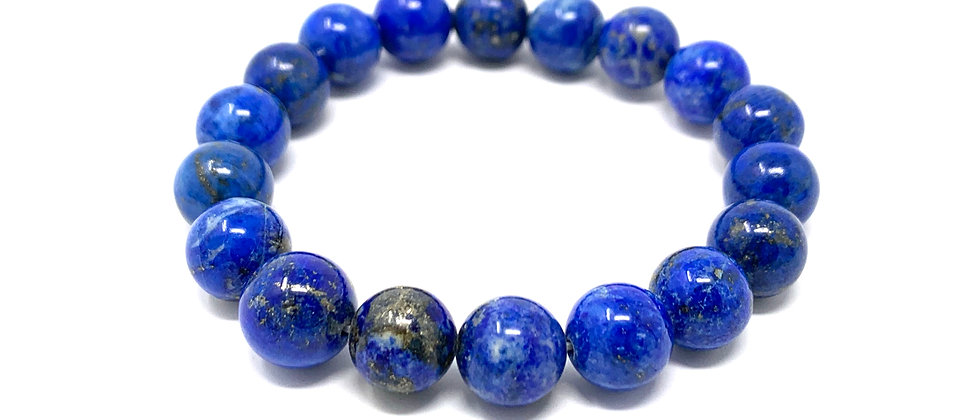 10 mm Round Natural Lapis Strech Bracelet (Price is Per 10 Pieces Bag)