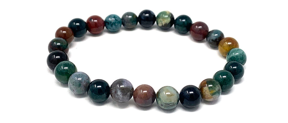 8 MM Indian Agate Round Beads Bracelets (Price Per 10 Pieces Bag)