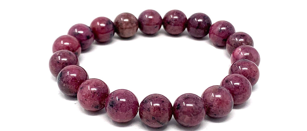 10 MM Rhodonite Round Beads Bracelets (Price Per 10 Pieces Bag)