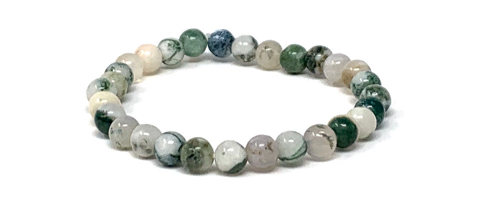 6 mm Round India Tree Agate Stretch Bracelet  (Price is Per 10 Pieces Bag)