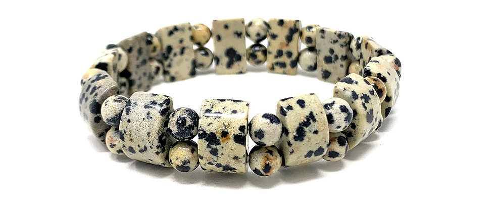Dalmation Jasper Tanker Bracelets (Price Per 10 Pieces Bag)