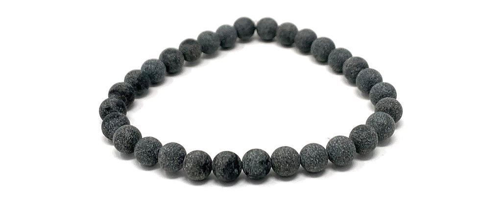 6 mm Round Black Jasper Matt. Elastic Bracelet  (Price is Per 10 Pieces Bag)