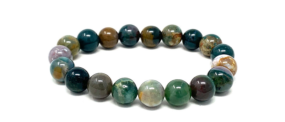 10 MM Indian Agate Round Beads Bracelets (Price Per 10 Pieces Bag)