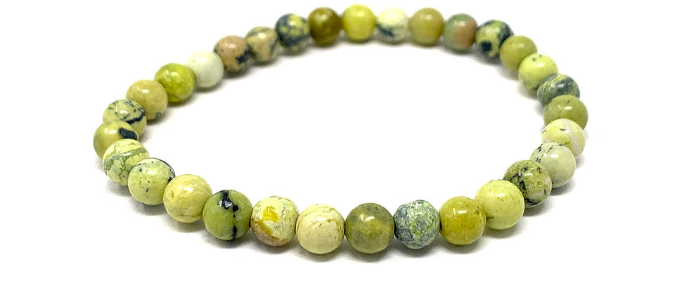 6 MM Yellow Turquoise Round Beads Bracelets (Price Per 10 Pieces Bag)